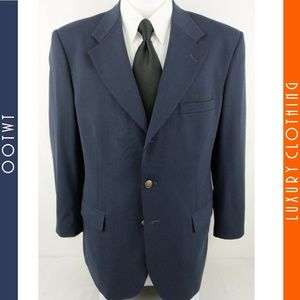 STAFFORD 40R Navy Blue Bronze 2 Button Sport Coat